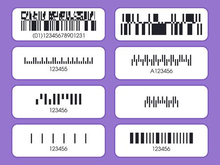 Etiketten van verpakkingen. Barcode sticker set. Verschillende vector barcode