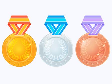 Set van medailles op gekleurde linten. Gouden, zilveren en bronzen medaille pictogram. Vectordiepenning op witte achtergrond wordt geïsoleerd