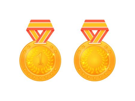 Gold medal on ribbon. Gold medal for first place on a white background. Winner award medal vector illustration