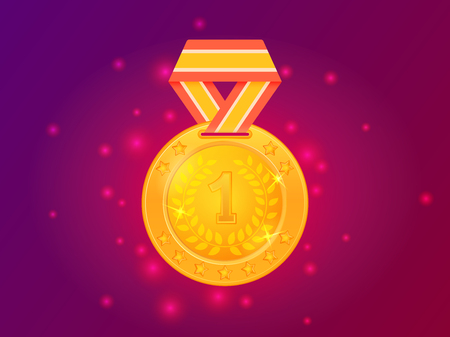 First place award gold medal with ribbon. Vector illustration 向量圖像