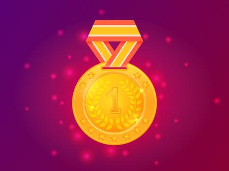 Gouden medaille eerste plaats met lint. Vector illustratie Stock Illustratie