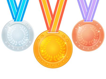 Set van medailles op een lint. Gouden, zilveren en bronzen medaille op een witte achtergrond. Vector illustratie