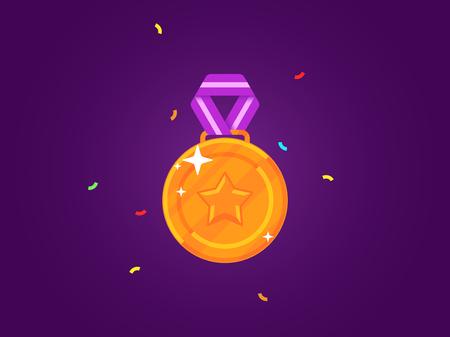 Gouden medaille met een ster. Platte medaille met lint. Vector illustratie Stock Illustratie