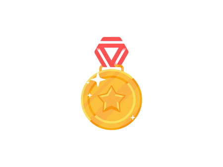 Champion gold medal with red ribbon. Flat game medal vector illustration