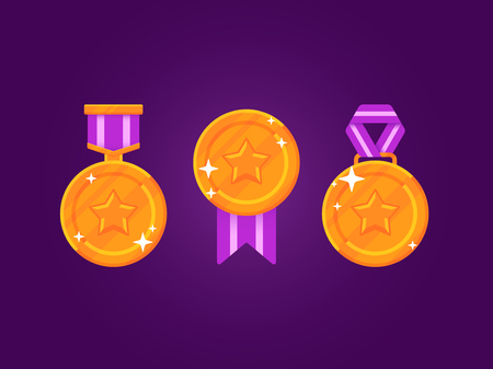 Set of winner medals. Gold medals with different ribbons. Gold medal for first place.