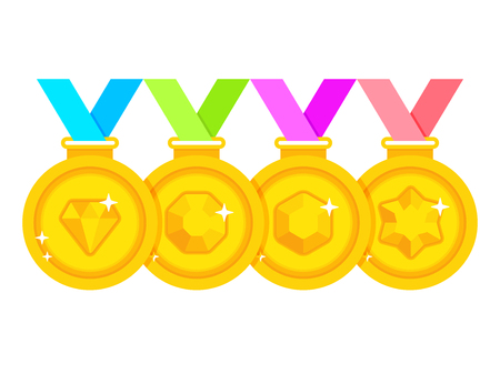Set of winner medals with multi-colored ribbons. Gold medal with gems on white background 向量圖像