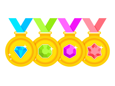 Set of award medals with colored ribbons on white background. Set of gold medals decorated with gems. Vector illustration