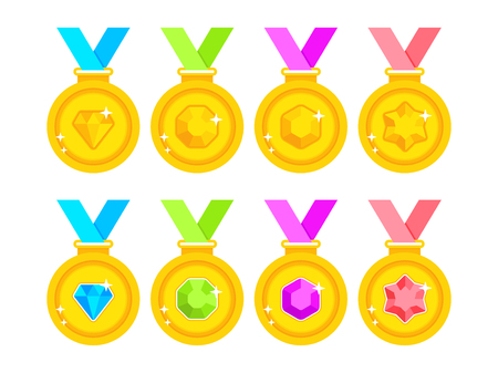 Set of award medals with colored ribbons on white background. Set of gold medals decorated with gems. Flat gold medals. Vector illustration