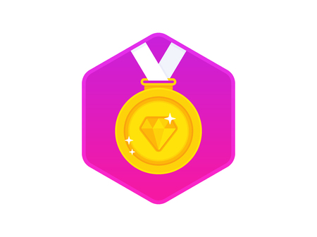 Gold medal with a diamond on a white ribbon. Gold medal icon. Vector illustration