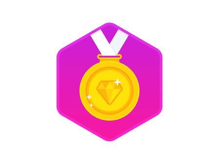 Gouden medaille met een diamant op een wit lint. Gouden medaille pictogram. Vector illustratie