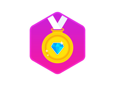 Beautiful golden award medal with diamond. Gold medal icon. Gold medal with white ribbon. Vector illustration