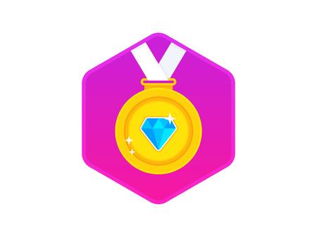 Mooie gouden beloning medaille met diamant. Gouden medaille pictogram. Gouden medaille met wit lint. Vector illustratie Stockfoto - 89744697