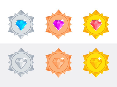 Set of gold, silver and bronze medals with brilliants. Vector illustration