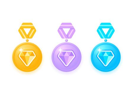 Set van prachtige gekleurde medailles met diamanten. Medaille geïsoleerd op wit. Inzameling van toekenningsmedailles met linten. Medaille pictogramserie. Vector illustratie