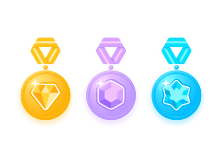 Set van prachtige gekleurde medailles met juwelen. Inzameling van toekenningsmedailles met linten. Medaille geïsoleerd op wit. Medaille pictogramserie. Vector illustratie