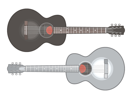 Acoustic guitar isolated on white background. Classical acoustic guitars, flat vector illustration Illustration