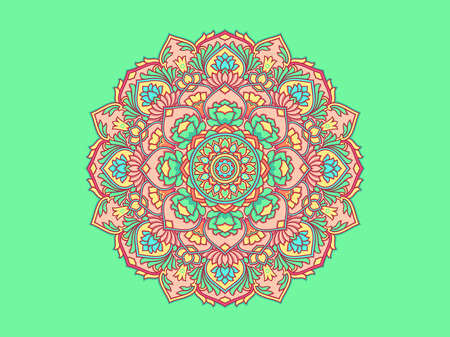Flower Ornamental Mandala. Round Oriental pattern. Vecor Mandala