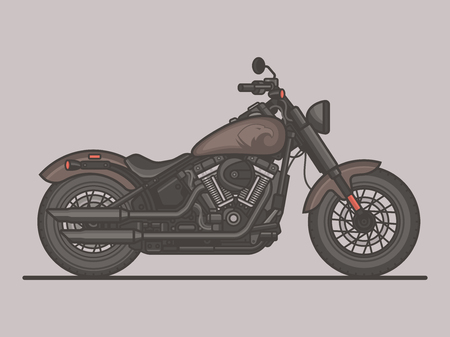 Classic Vintage Motorcycle. Motorbike Flat Vector Illustration