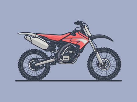 Motocross Bike. Sport Bike Flat Vector Illustration