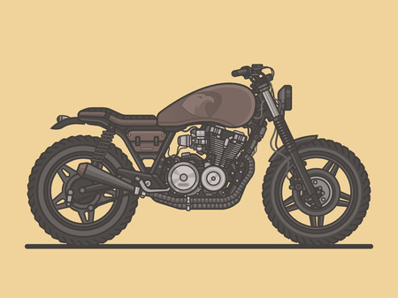 Cafe Racer. Classic Vintage Motorcycle. Motorbike Flat Vector Illustration