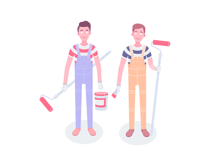 Happy cartoon repairman painter worker. Young painters workers vector flat characters. Workers in overalls standing isolated and holding building tools.