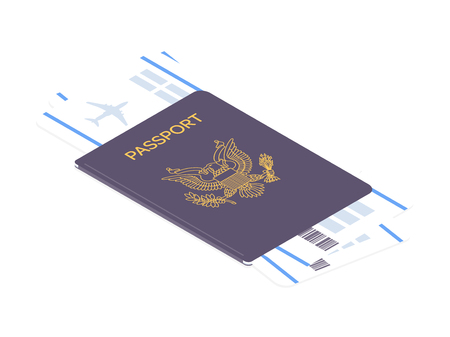 US passport with boarding passes. Airline tickets and passport. Concept for travel and vacations. Vector illustration Illustration