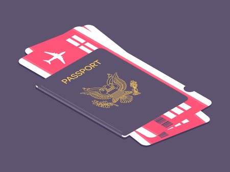 US passport with boarding passes. Airline tickets and passport. Concept for travel and vacations. Vector illustration Иллюстрация