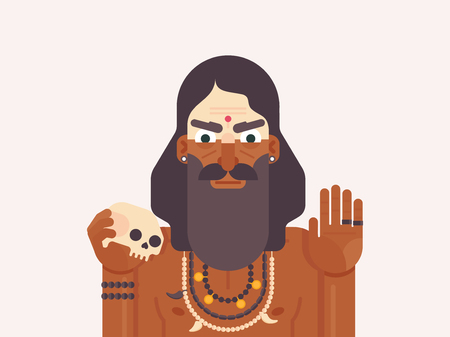 Holy Men of India. Cartoon character of a Holy Sadhu man with traditional painted face. Monk practicing Shaivism. Flat vector illustration Иллюстрация