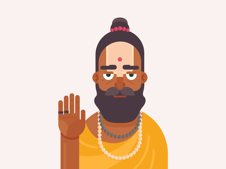 Holy Men of India. Cartoon character of an Holy Sadhu man with traditional painted face. Sadhu Monk flat vector illustration Иллюстрация