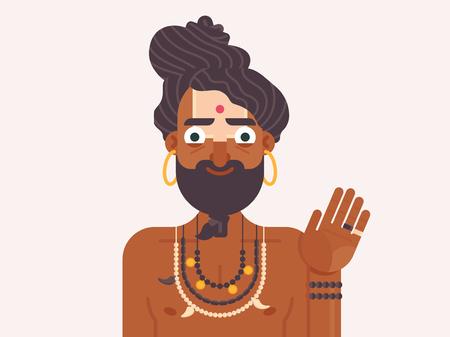 funny cartoon Indian young monk. Holy Sadhu. Indian wandering monk flat vector illustration