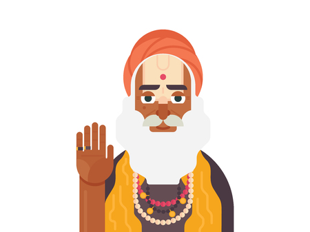 Holy Sadhu of India. Cartoon character of Indian old man. Sadhu Monk flat vector illustration Иллюстрация