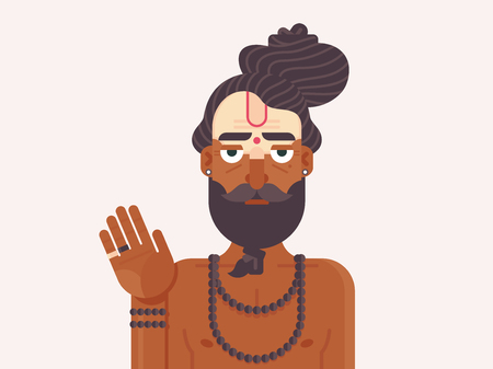 Indian Sadhu Monk. Cartoon character of an Holy Sadhu man with traditional painted face. Hindu Spirit Guide. Flat vector illustration