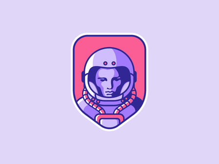Space logo. Vintage astronaut badge. Spaceman vector illustration 版權商用圖片 - 90086571