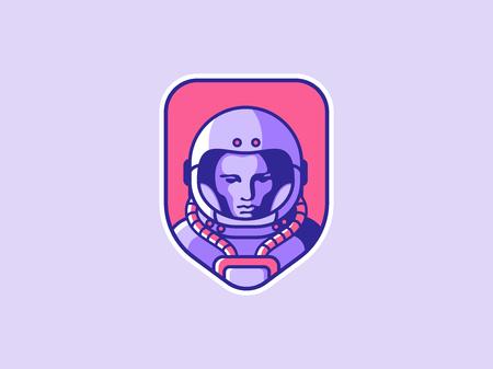 Space logo. Vintage astronaut badge. Spaceman vector illustration
