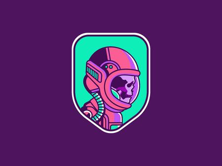 Space logo. Vintage astronaut skull badge. Spaceman vector illustration Stock Illustratie