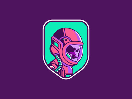 Space logo. Vintage astronaut skull badge. Spaceman vector illustration Иллюстрация