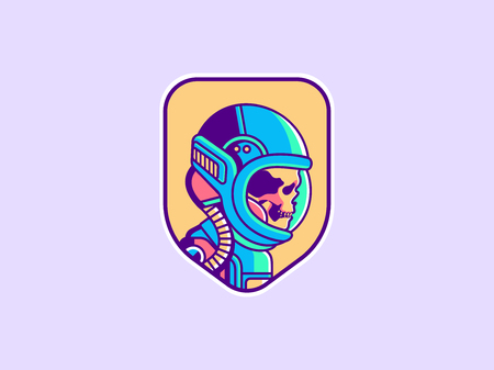 Ruimte pictogram. Vintage astronaut schedel badge. Spaceman vectorillustratie