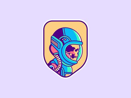 Space icon. Vintage astronaut skull badge. Spaceman vector illustration