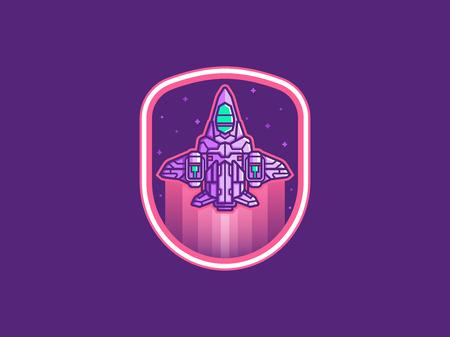 Spaceship emblem vector