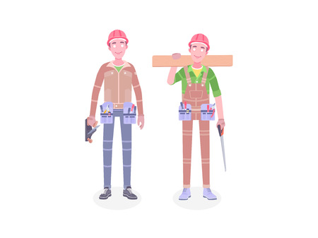 Happy cartoon repairman carpenter worker with safety helmet. Young construction workers vector flat characters. Workers in workwear.
