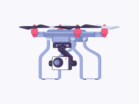 Aerial drone with a camera for video surveillance. Drone flat vector illustration Иллюстрация