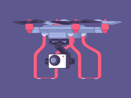 Aerial drone with a camera for video surveillance. Drone flat vector illustration Stock Illustratie
