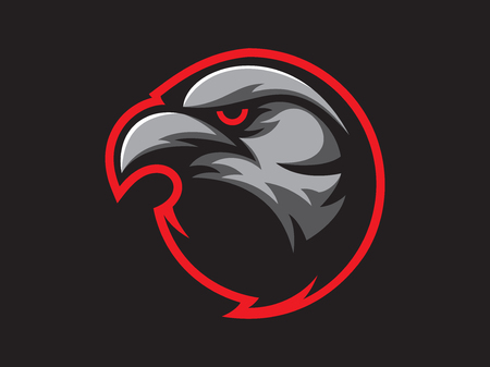 Black crow mascot design for logo. Sports branding. Crow head badge. Sport logo vector template Illustration