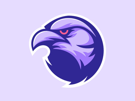 Crow mascot design for logo. Sports branding. Crow head badge. Sport logo vector template Ilustracja