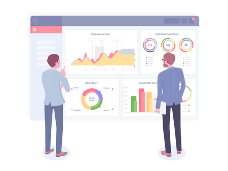 Businessman looks at growth chart. Back view of two businessmen looking at business strategy. Vector illustration 向量圖像