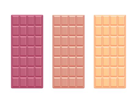 White and dark chocolate bars. Chocolate flat design. Vector illustration