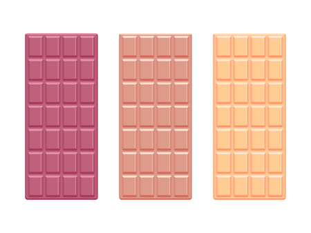 Witte en donkere chocoladerepen. Chocolade plat ontwerp. Vector illustratie