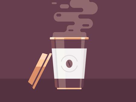 Koffiekopje vectorillustratie. Wegwerp koffiekopje