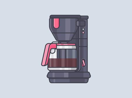Koffiezetapparaat. Koffie machine vectorillustratie Stock Illustratie