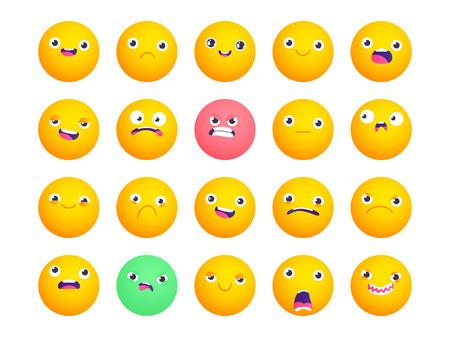 Set van cirkel-emoji. Smile-pictogrammen. Vector emoticons die op wit worden geïsoleerd. Emoji voor grappige vlakke stijl